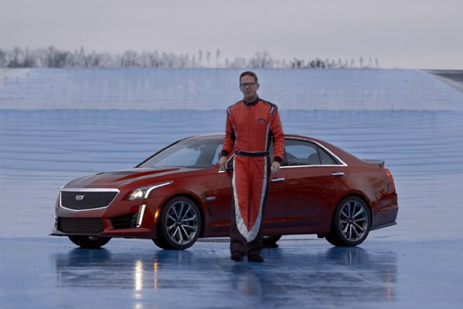 Watch Randy Pobst Explain the Finer Points of Driving on a Skidpad in a 2016 Cadillac CTS-V