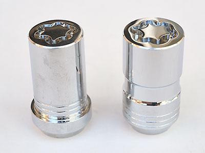 """The two styles of locks available for ATS-V and CTS-V. The """"Tuner"""" style (at left) is for some aftermarket wheels with small diameter wheel nut holes."""