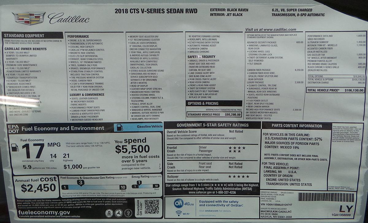 2018 Cadillac CTS-V Window Sticker